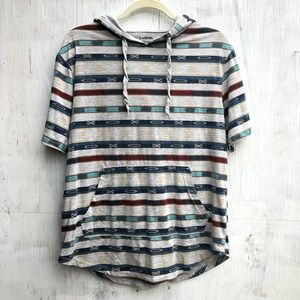 Carbon Striped short sleeve hooded shirt